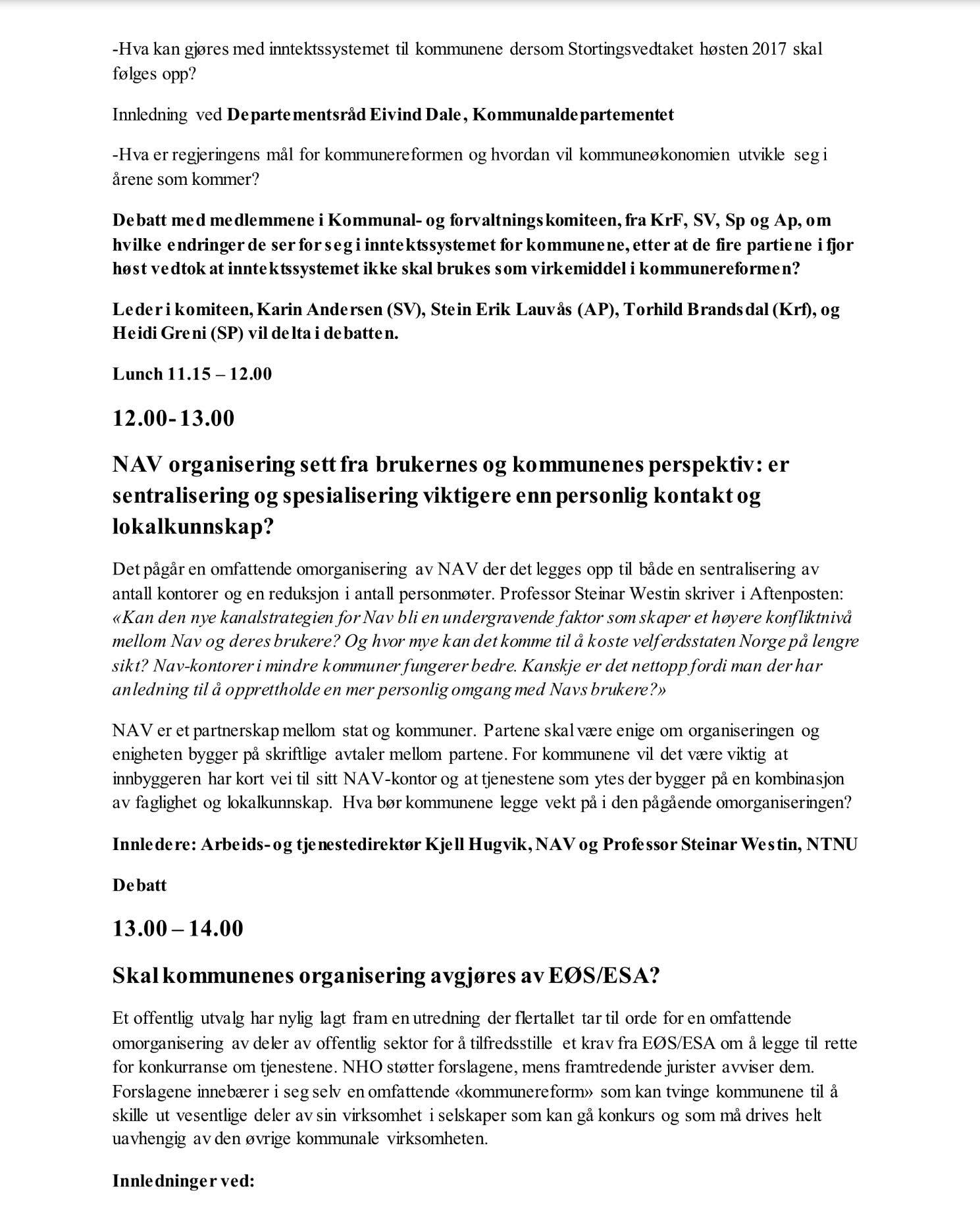 LSF2 - Program: Reformene som sentraliserer Norge! Gardermoen 7. mai 2018