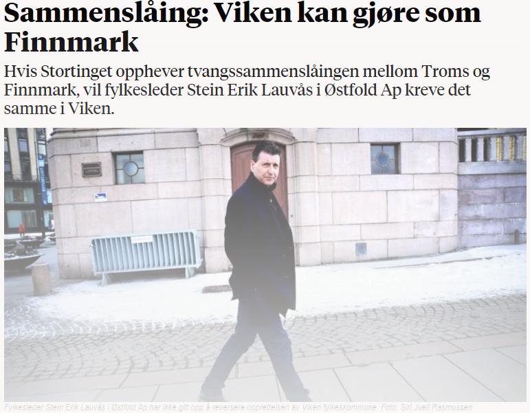 Faksimile Nationen - Lauvås: Lykkes innbyggerne i Finnmark kan Viken falle!