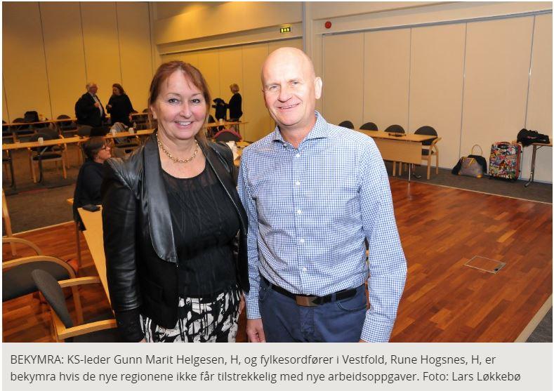 Helgesen og Hogsnes - Usikkerhet også om sammenslåingen av Vestfold og Telemark