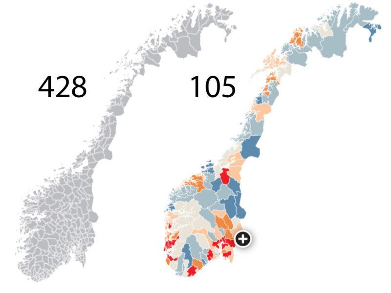 nyttkommunekart 800x600 - Slik blir Norge med 105 kommuner